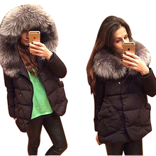 New Winter 2015 Women Jackets Cotton Full Sleeve Covered button with pocketswomen Hat with Feathers Ultra Light Down Jacket A023