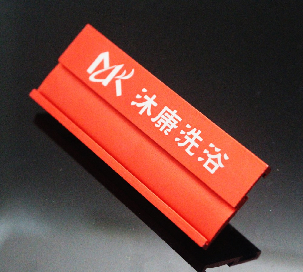 Manufacturer custom aluminium company name tag with safe pin