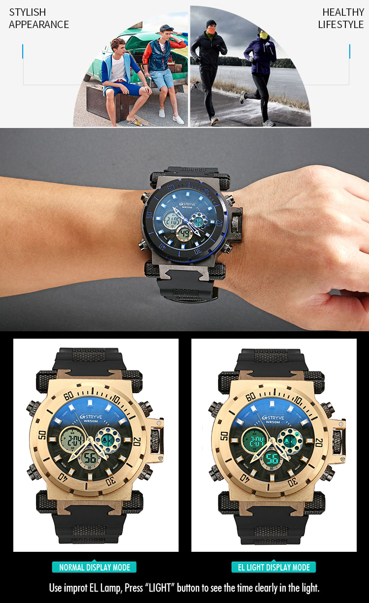 Top Brand STRYVE 8015 Multifunction Sport Watches Luxury LED Digital Clock Military Dual Display Quartz Waterproof Men Relojs