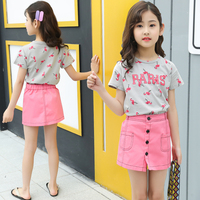 Pink Flamingo Pattern Children'S Little Girl Kids Summer Clothes Suit Pink Girl 2 Piece Clothing Matching Skirt 2Pc Set