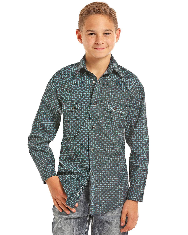 d114cdd07 Get Quotations · Rock & Roll Cowboy Boys Print Long Sleeve Snap Shirt -  B8s7030