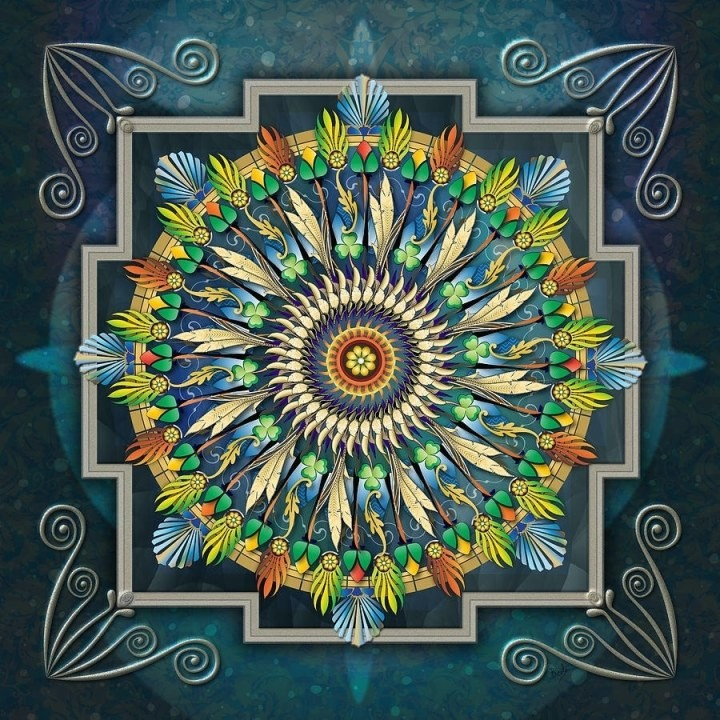 hand work mandala canvas diamond painting with wooden frame FZ003