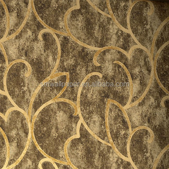 New Pvc Wallpaper Wall Covering Golden For Bedroom Walls