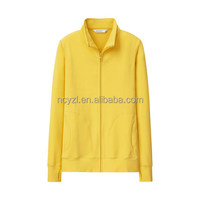 Wholesale with thumb hole plain cotton sweater fall loose yellow zip Hoodie