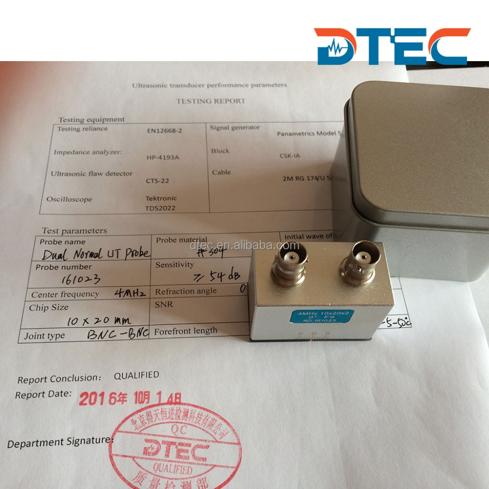 DTEC Dual normal Probe,10x20mm,4MHz,BNC-BNC probe for UT machine,Customized OEM probes,manufacturer price