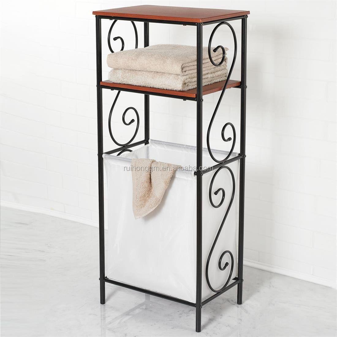 tiers metal bathroom scroll storage organizer laundry sorter, Home decor