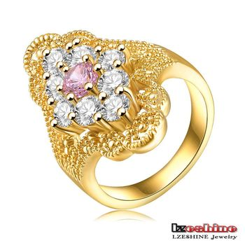 Latest Design 18k Solid Gold Plated Women Thumb Fake Diamond Ring