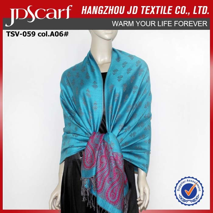Custom jacquard pakistan viscose magic pashmina shawl