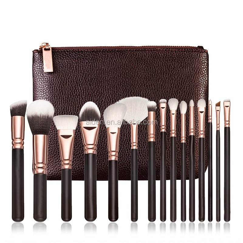 AIDEN- Rose gold make up brushes set Rose gold 15 pcs makeup brush set Rose gold vegan makeup brush for makeup