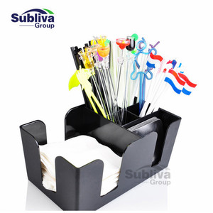 Black Commerical Plastic Bar Caddy Organizer Black with 6 Compartments