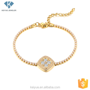 Fashion Cz Pave Diamond Charm Gold Plated Tennis Bracelet Designs Las Women Dubai