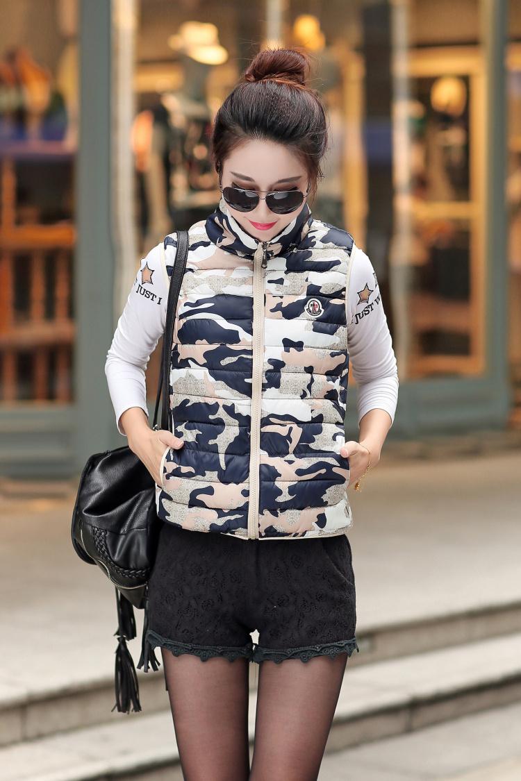 Осень зима женщины в хлопок - мягкий вниз камуфляж верхняя одежда без рукавов хлопок жилет 3XL приталенный куртка DF805