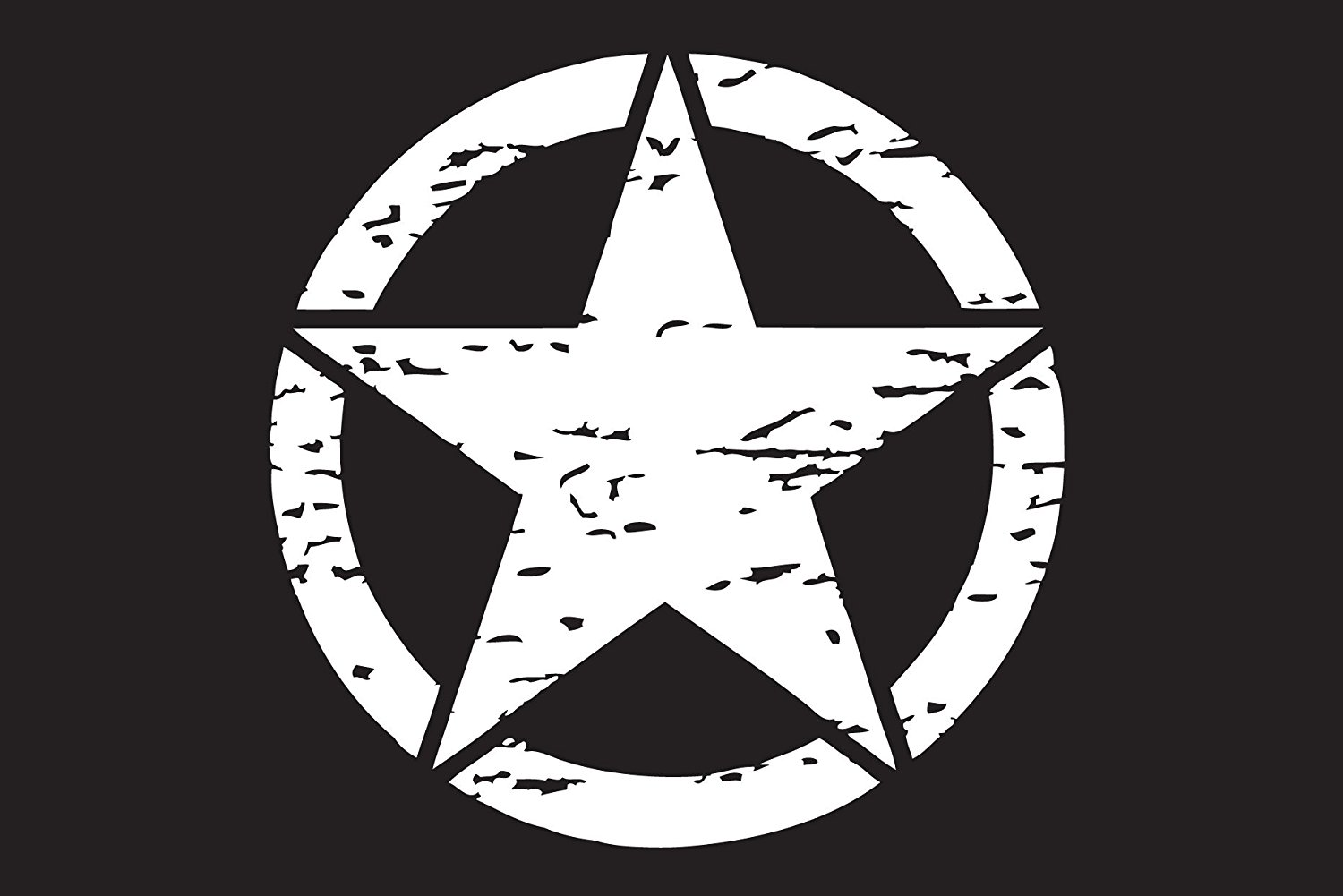 """The Pixel Hut gs00139 13"""" White Distressed Army Military Star Hood Decal for Jeep Wrangler"""
