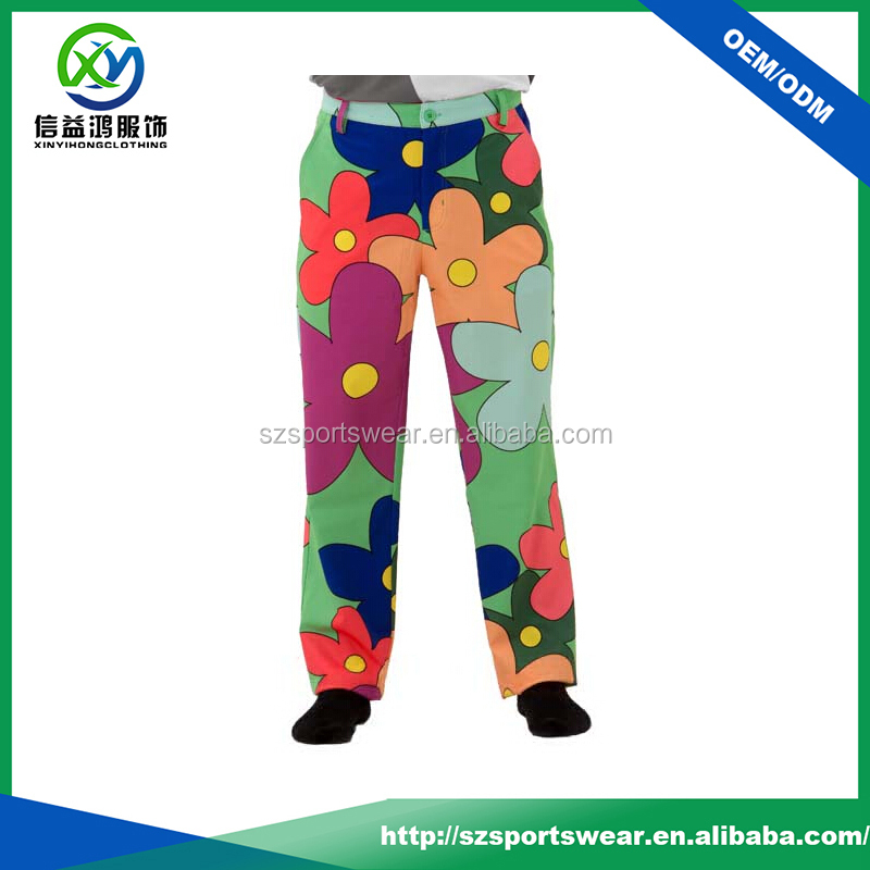 Full sublimation printing mens performance Dry fit Funky golf pants