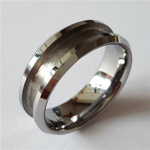 Fashion Beveled Edges Recessed Center Grooved Tungsten Carbide Rings Blank Ring for inlay