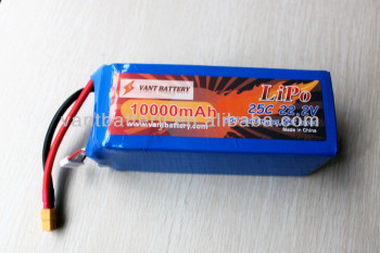 vant battery 22.2V 6S1P 10000mah 25C lipo battery pack drones battery customization
