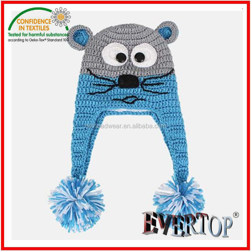 100% Acrylic Knitting Pattern Animal Earflap Hat,Earflap Hat ...