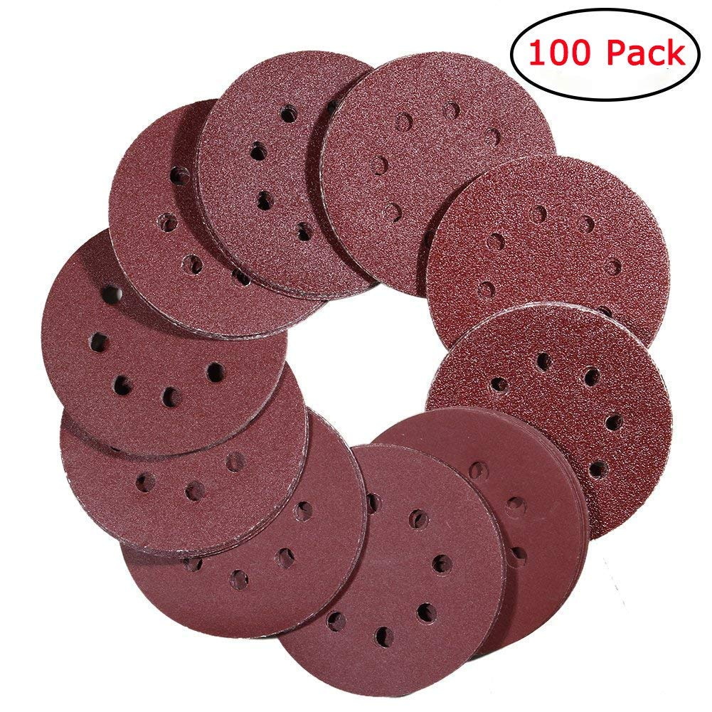 Bingogous 5 inch 8-Hole Hook and Loop Sanding Discs 100PCS 40 60 80 100 120 180 240 320 400 800 Grit Assorted Orbital Sander Round Sandpaper