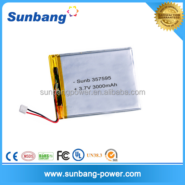 Rechargeable 3.7v 3000mah lipo battery 601688 OEM for medical device