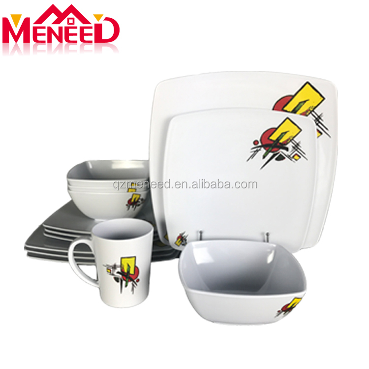 Customized print high quality Chinese products square melamine dinnerware set