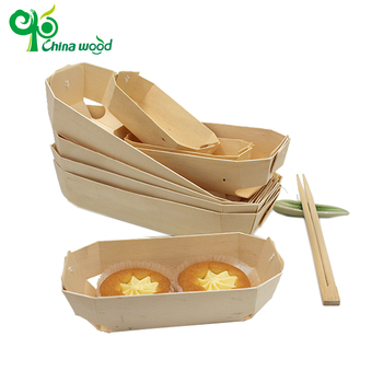 Disposable natural poplar wooden round cake packing box
