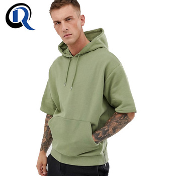 Guangzhou RuiQi 100% Cotton With Kangaroo Pocket Sides Zipper Custom Hood Men Short Sleeve Hoodie