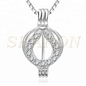 Pearl Party Crystal Heart Locket Charm Pick Pearl 925 Sterling Silver Pearl Cage Pendant