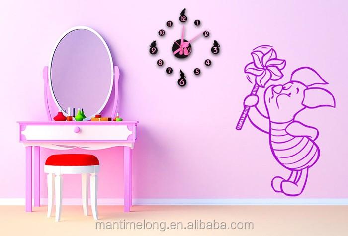 Leuke Slaapkamer Decoraties : Mode creatieve cartoon pink leuke kat acryl diy wandklok kinderen