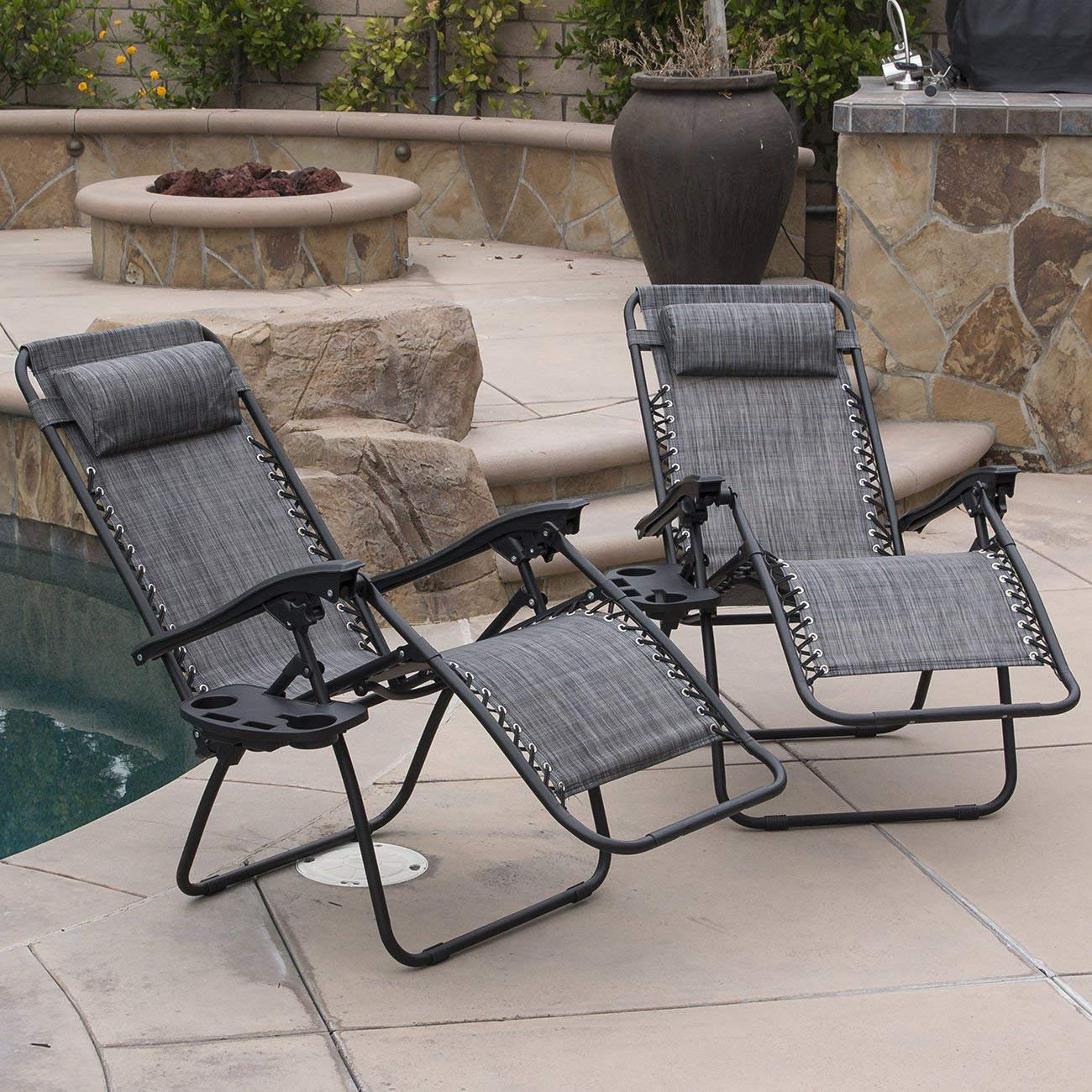 Globe House Products GHP 2-Pcs Gray Outdoor Portable Durable Zero Gravity Reclining Lounge Folding Chairs