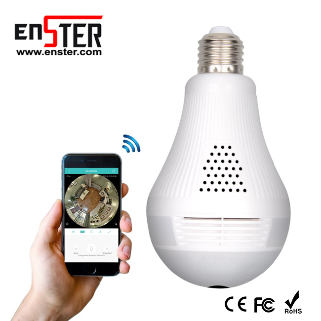 Newest 960P 360 Degree panoramic CCTV security Wireless IP WiFi hidden light bulb <strong>camera</strong>