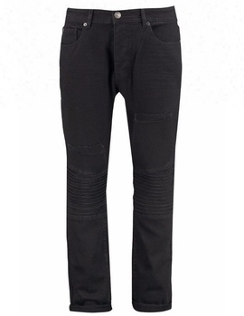 10a0e386cf4 Royal wolf denim jeans manufacturer 3D whiskering and roll up hem ripped cut  straight black biker