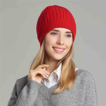 bab8f12e824 Winter Knit Hat Women Cashmere Ribbed Knitted Beanie - Buy Rib Knit ...
