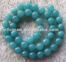 10mm round color dyed blue jade beads