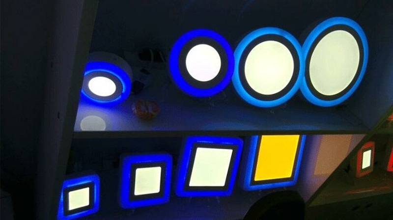 AC85-265V slim led panels warm white white blue home decoration lights Double color led panel light,led lights changeable color