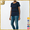 Best quality round neck navy blue applique women t-shirt