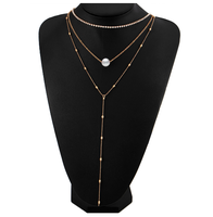 Daihe Gold plated bright crystal necklace with triple-layer and pearl necklace hot sale for ladies