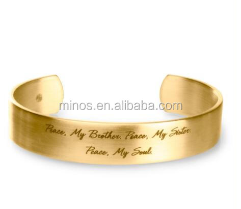 peace, my brother gold engraved cuff bracelet custom hot selling stamped bangle