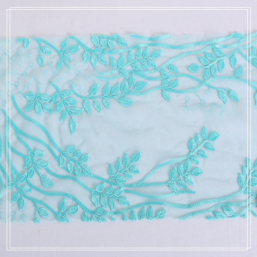 new popular plain embroidery light blue embroidery lace flower for girls dress
