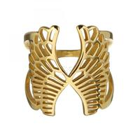 china factory wholesale new simple design gold plated finger ring woman stainless steel US Size:8 1299965