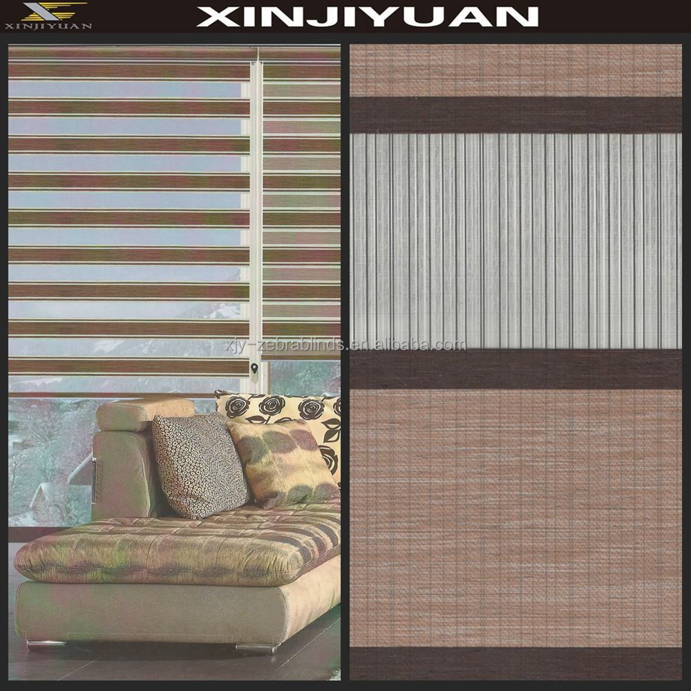 Woven coated zebra roller blinds for window shades decoration
