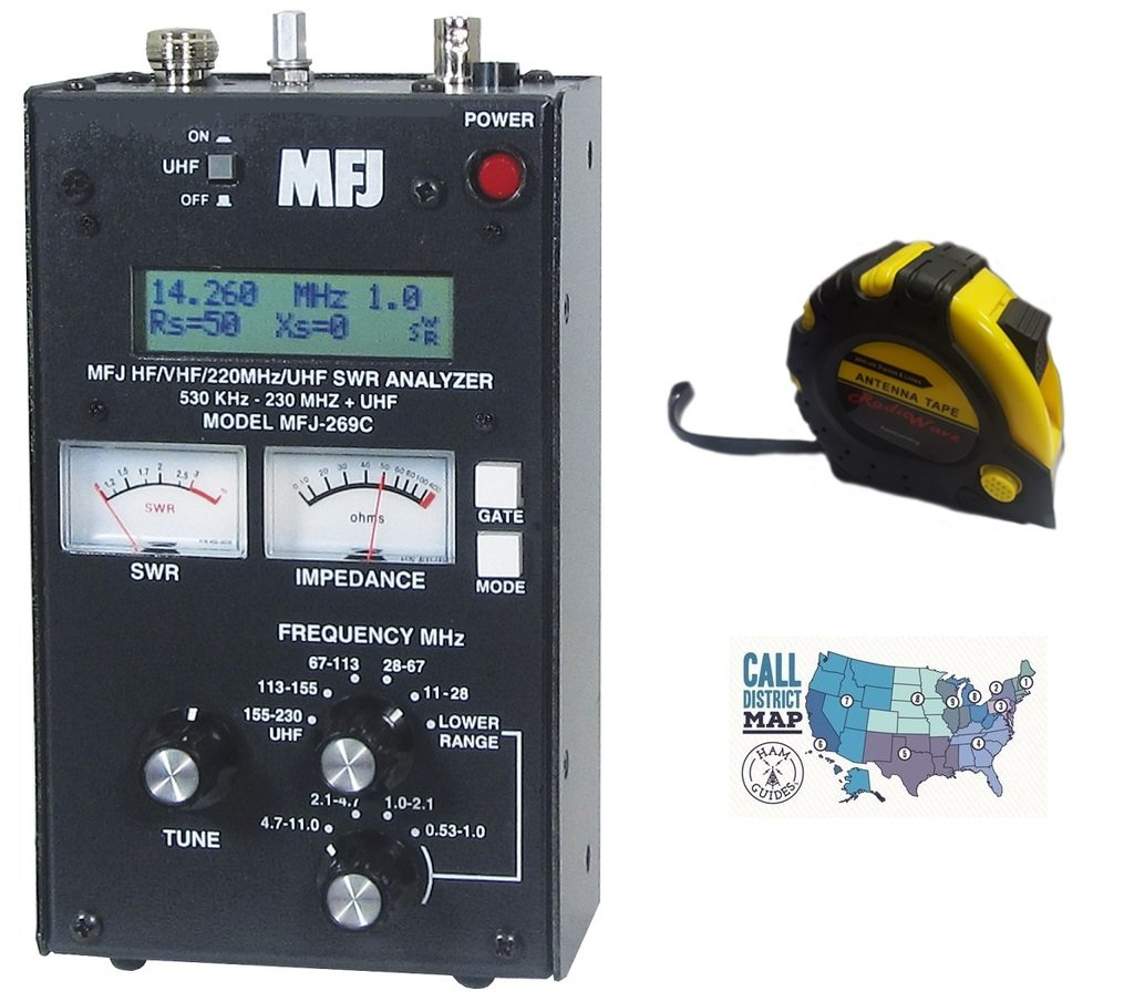 Bundle - 3 Items - Includes MFJ 269C HF/VHF/220MHz/UHF Antenna/SWR/RF Analyzer with Meters with the New Radiowavz Antenna Tape (2m - 30m) and HAM Guides Quick Reference Card