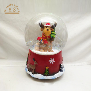 Handmade Polyresin led christmas lantern water globe, snow globe lantern, led christmas snow lantern