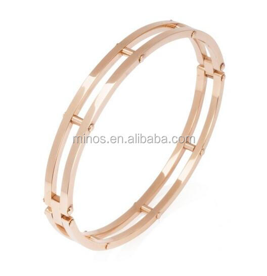 Women's Bangle Bracelet Cut-Out Stainless Steel 7in Hinged Double Band Rose Gold, Yellow Gold & Silver