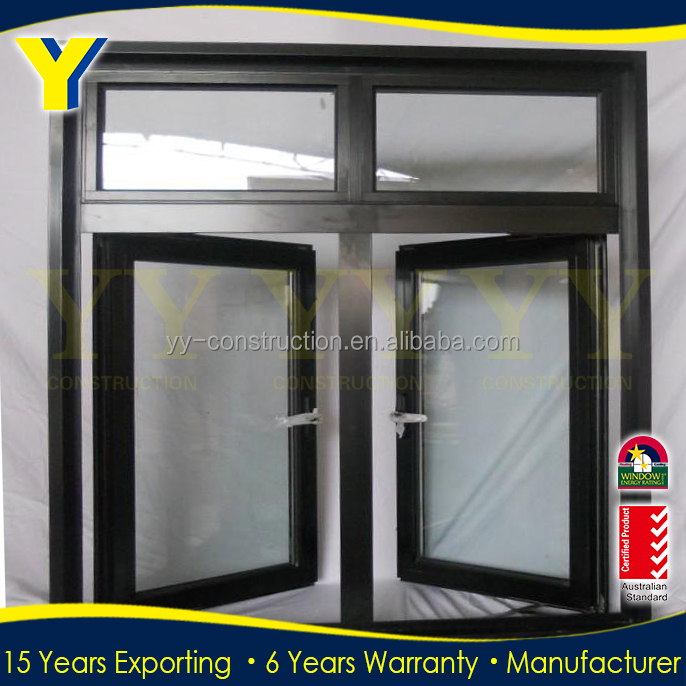 AS2047 Aluminum Wood Windows Swing Double Casement Window With Grilles