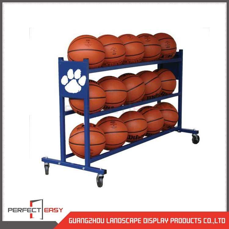 Customized 3 tiers basketball floor standing shelf metal display stands