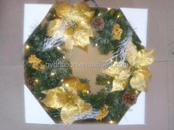 attractive hot sale christmas decoration wreath pvc christmas garland christmas wreath with big yellow flowers - Christmas Garland Decorations Sale