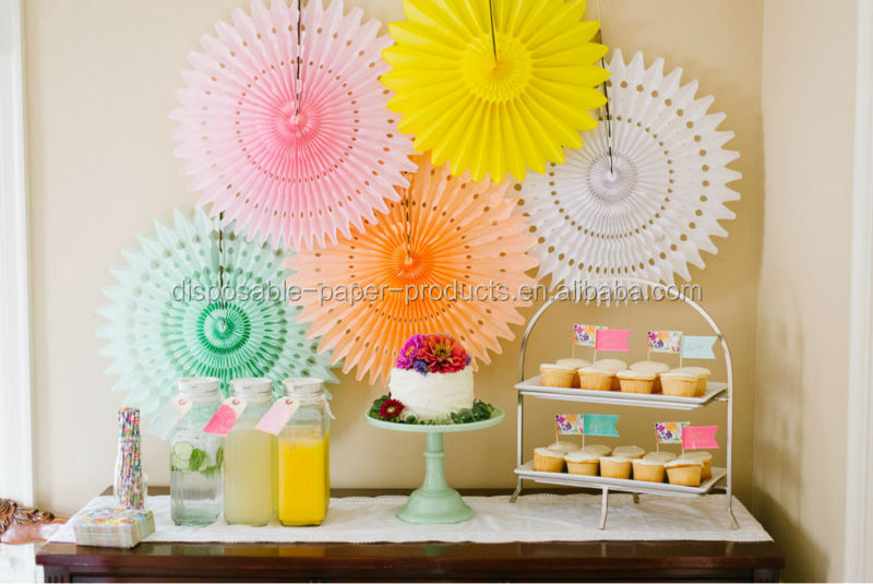 Hanging Tissue Paper Fans DIY backdrop WILDFLOWER THEMED FIRST BIRTHDAY PART Fan Hanging Decorations Birthday Wedding Decoration