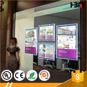 Real Estate Agent Acrylic LED Window Display double sided crystal light box