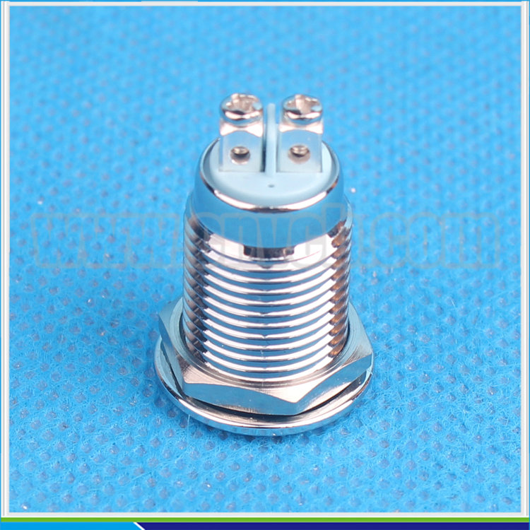 IN12 Flat round LED IP67 brass nickel plated / brass nickled / chrome plated yellow white red 12mm waterproof indicator