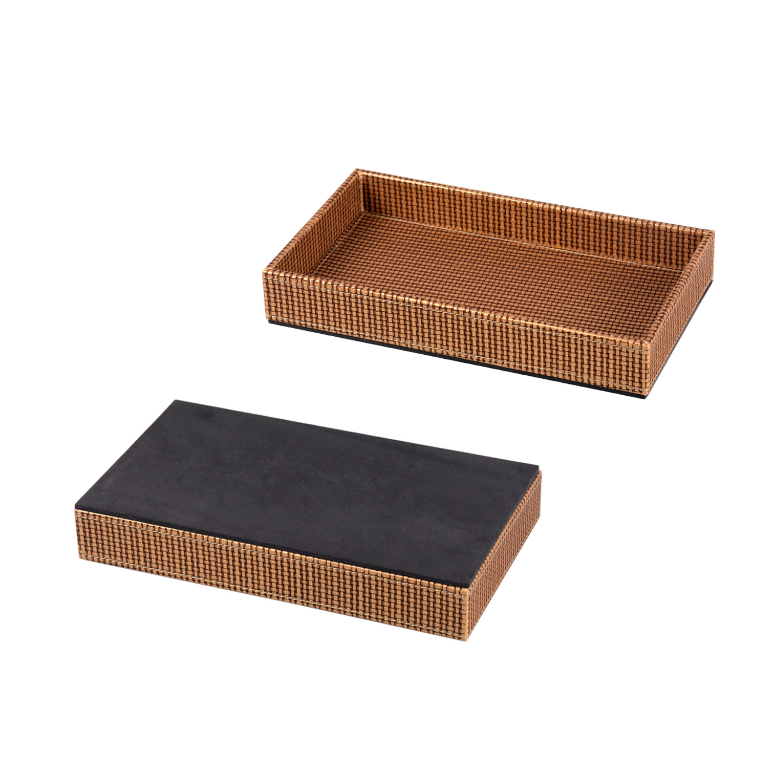 Large creative woven pattern PU leather serving tray